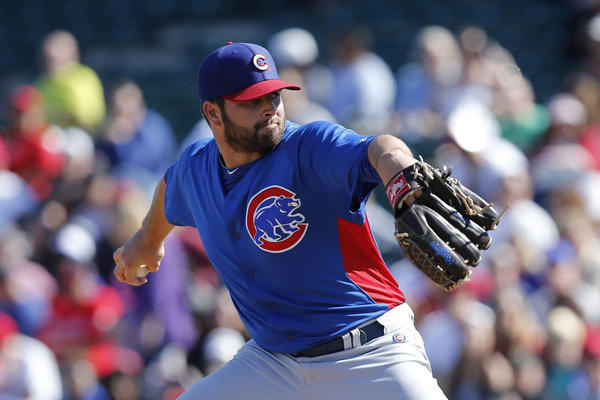 Trey McNutt pitching for the Cubs in spring training.