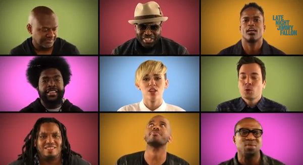 """Miley Cyrus performs her song """"We Can't Stop"""" with the Roots on """"Late Night with Jimmy Fallon."""""""