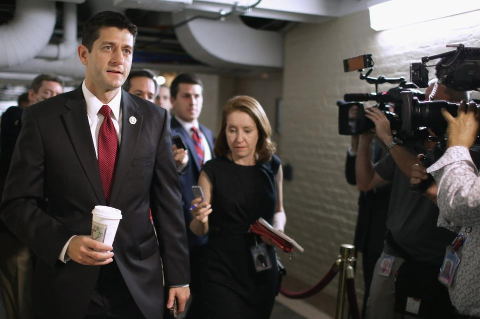 House Budget Committee Chairman Paul Ryan heads for a House Republican caucus meeting last week at the Capitol.