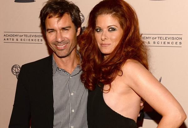 "Debra Messing and former ""Will & Grace"" costar Eric McCormack reunite at the Academy of Television Arts & Sciences' event ""An Evening Honoring James Burrows"" at the Academy of Television Arts & Sciences on Oct. 7 in North Hollywood."