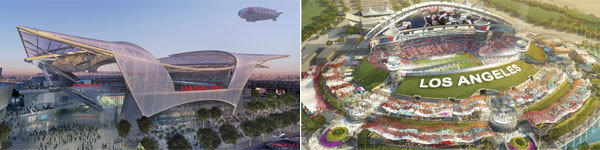 Artists' renderings of two proposed NFL stadiums -- Farmers Field at L.A. Live, left, and Grand Crossing in the City of Industry.