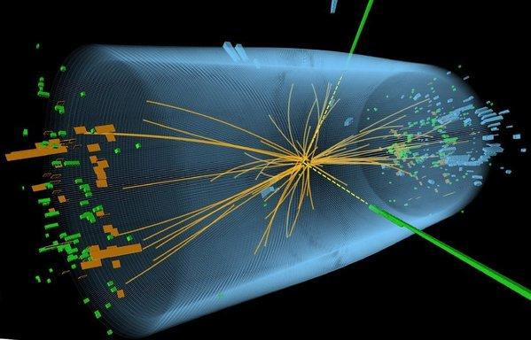 A computer-generated picture of a proton-proton collision within the Large Hadron Collider.