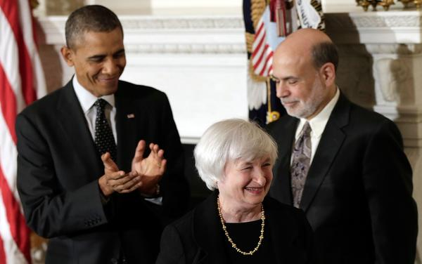 President Obama applauds Janet L. Yellen, his nominee to be the next head of the Federal Reserve, at a White House ceremony. If confirmed, she would succeed Ben S. Bernanke, right.
