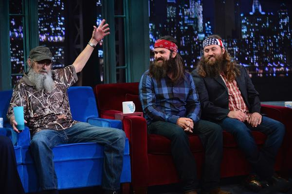 "From left, Si, Jace and Willie Robertson visit ""Late Night With Jimmy Fallon."""