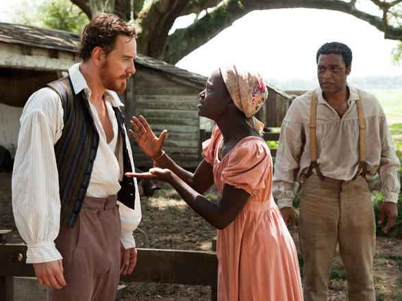 "Michael Fassbender, left, Lupita Noyong'o and Chiwetel Ejiofor in Steve McQueen's ""12 Years a Slave."""
