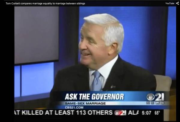 During a news program on CBS21 in Harrisburg, Gov. Tom Corbett on Friday compares same-sex marriage to incest, a remark for which he apologized later that day.