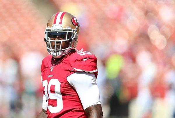 San Francisco 49ers' Aldon Smith before Sept. 22 game against the Indianapolis Colts. He has not played since.