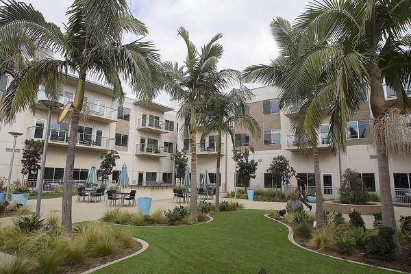 Pictured is a courtyard at Vivante on the Coast, a large retirement community in Costa Mesa's Westside. The 185-unit property on 7 acres opens Tuesday and has about 75 residents set to move in.