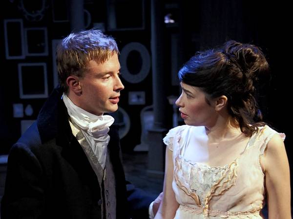 "Greg Matthew Anderson (as Henry Tilney) and Sarah Price (as Catherine Morland) in Remy Bumppo's ""Northanger Abbey."""