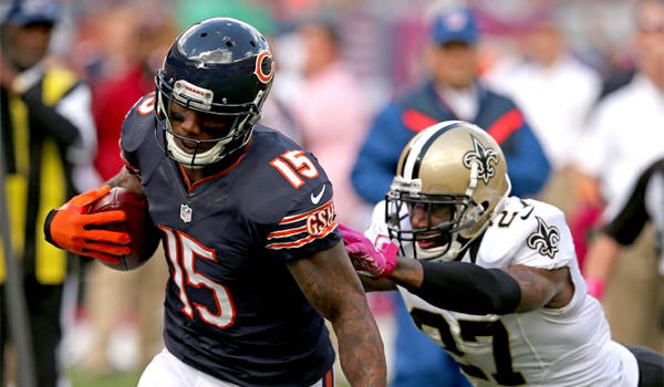 Brandon Marshall has 31 receptions for 378 yards and three touchdowns this season for the Chicago Bears who are favorites headed into Thursday's matchup with the New York Giants.