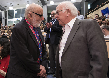 Francois Englert, left, and Peter Higgs meet for the first time at the CERN laboratory in Switzerland as the discovery of a Higgs particle was announced.