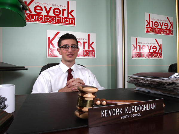 School board candidate Kevork Kurdoghlian in his home-office bedroom on Monday, Sept. 30, 2013. Kurdoghlian is one of eight candidates running for three open La Cañada Unified School District seats.
