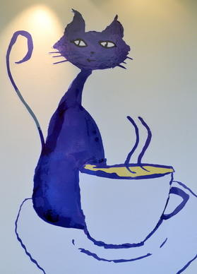 A cuppa and a cat -- such a winning combination for the new Cafe des Ch