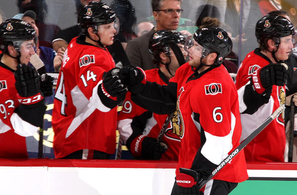 Bobby Ryan celebrates a goal with his Ottawa Senators teammates during a preseason game against the Montreal Canadiens.