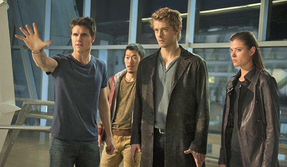 From left, Robbie Amell, Aaron Woo, Luke Mitchell and Peyton List in 'The Tomorrow People'