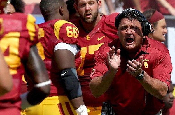 USC interim coach Ed Orgeron has always been a fiery presence on the Trojans' sideline.
