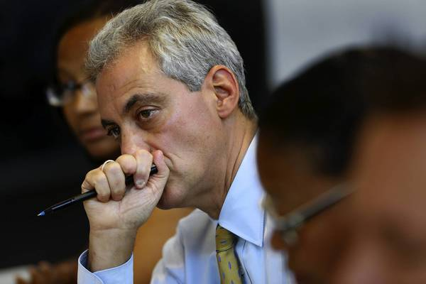 Mayor Rahm Emanuel meets with small-business owners Wednesday, when he revealed some details about the upcoming city budget.