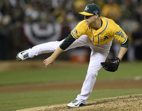 A's starting pitcher Sonny Gray against the Tigers during the sixth inning of Game 2.