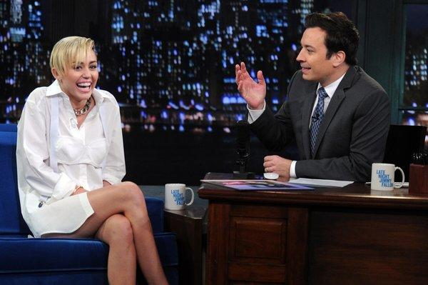 "Miley Cyrus is seen on ""Late Night With Jimmy Fallon."""