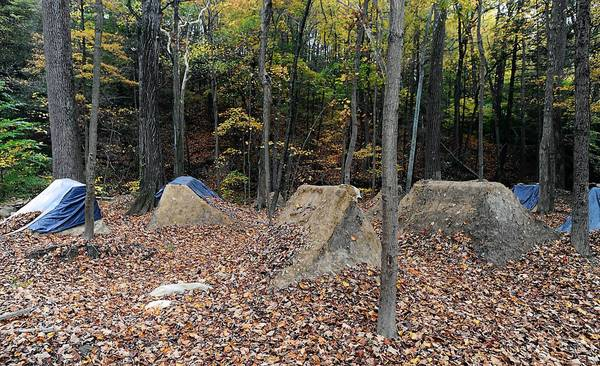 Lehigh Township officials were surprised to find an elaborate dirt bike track built in the woods at Indian Trail Park.