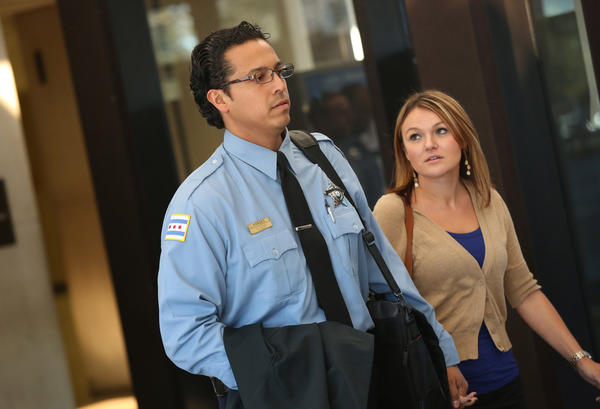 """Officer Thomas Vargas leaves the Leighton Criminal Court Building after Kevin Walker was found guilty of the slaying of his partner Chicago Police Officer Alejandro """"Alex"""" Valadez Oct. 9."""