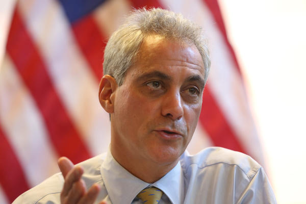 Mayor Rahm Emanuel speaks with small business owners Wednesday in Chicago.