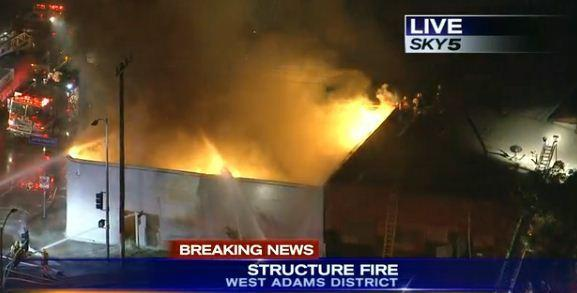 Firefighters were battling a big blaze in West Adams.