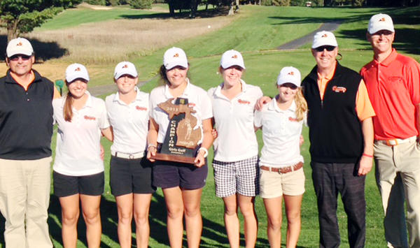 The Harbor Springs High School girls varsity golf team captured the programs first-ever Division IV regional title Wednesday as they shot 351 to win the 14-team tournament at Manistee National. Team members are (from left) assistant coach Joe Breighner, Sadie Cwikiel, Abby Detmar, Ellen Breighner, Perry Bower, Zoey Bezilla, coach Pete Kelbel and assistant coach Shaun Bezilla.