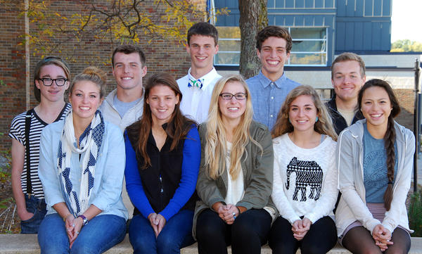 Petoskey High School homecoming candidates for 2013 include: Bottom row (from left) Megan Saddison, Ellen Audia, Nikki Schlueter, Tori Visconti, and Isabel Ceniza. Back row (from left) Clem Turner, Chase Ledingham, Joe LeBlanc, Joe Crittenden, and Connor Reed. The king and queen will be announced at halftime of the football game Friday, Oct. 11 with Gaylord.