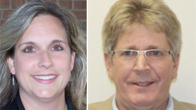 Republican mayoral candidate Beth DelBuono (left) and Democratic Mayor Stephen Woods (right).