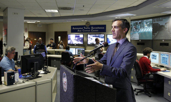 Los Angeles Mayor Eric Garcetti speaks at a news conference Tuesday to mark his 100th day in office and unveil a new city website.