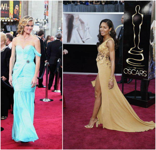 Past Red Carpet Green Dress creations showcased on the Academy Awards red carpet include the gowns worn by Missi Pyle in 2012, left, designed by Valentina Delfino, and Naomie Harris in 2013, designed by Michael Badger.