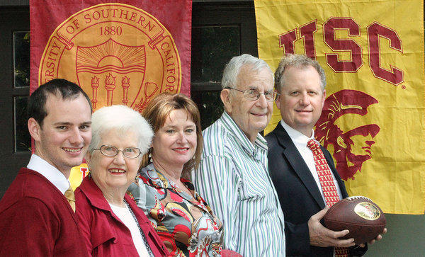 Three generations of USC attendees. From the left are Will, Thelma, Cheryl, John and Steve Orr. Photographed on Tuesday, October 8, 2013.