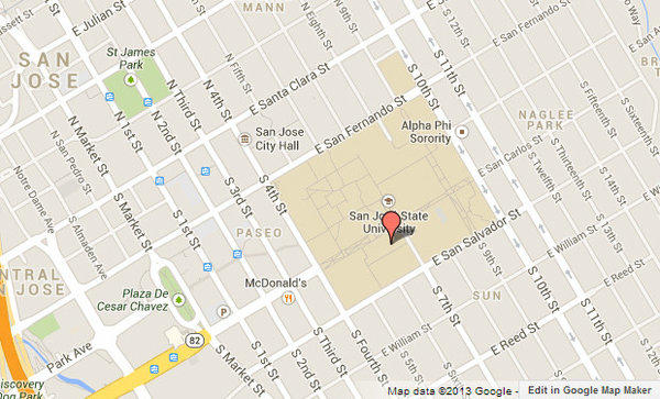 Approximate location of Sweeny Hall, which San Jose State University students and faculty have been advised to avoid due to a possible gunman on campus.