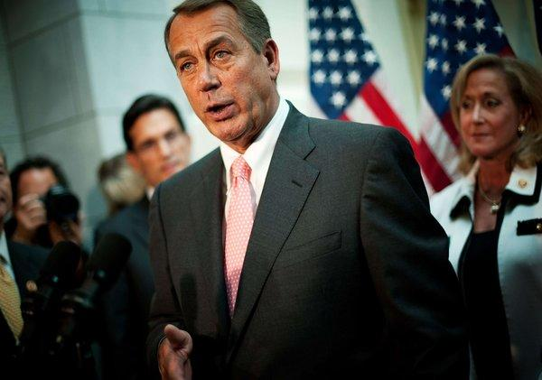 House Speaker John A. Boehner (R-Ohio) speaks during a news conference in Washington on Thursday.