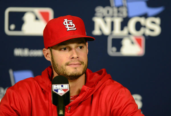 St. Louis Cardinals pitcher Joe Kelly talks with the media after being announced as the starter for Game 1 of the National League Championship Series.