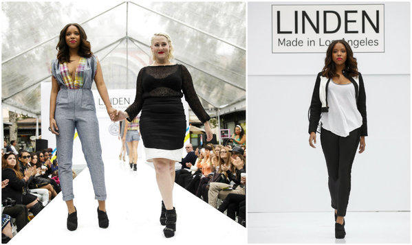 Designer Jennifer Lynn, center, presented her Linden spring 2014 runway collection at the Grove during Los Angeles Fashion Week.