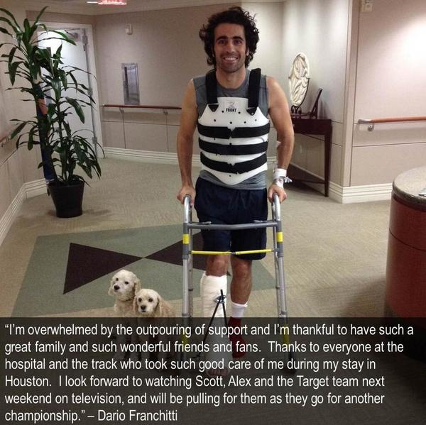 Dario Franchitti tweets a photo from the hospital.