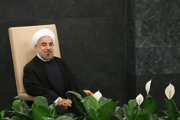 President of Iran Hassan Rouhani sits before speaking at the United Nations (U.N.) General Assembly on September 24, 2013 in New York City.