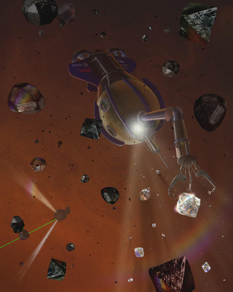 An artist's conception of a robotic craft plucking diamonds from an alien planet.
