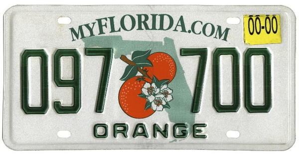 Florida license plate.