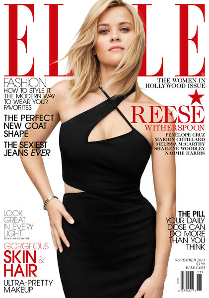 Reese Witherspoon on the cover of Elle's Women in Hollywod issue.