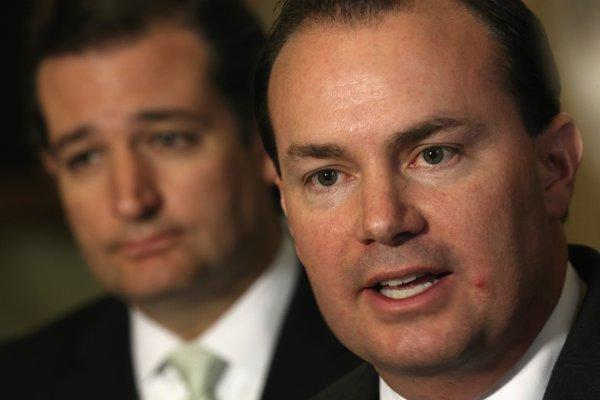 Sen. Mike Lee (R-Utah), foreground, is one of the key architects of the government shutdown along with fellow Republican Sen. Ted Cruz of Texas. Both have lost support in opinion polls.