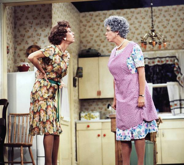 "Carol Burnett's Eunice, left, has words with her cranky mother (Vicki Lawrence) on the '80s sitcom ""Mama's Family,"" whose six seasons are now available on DVD in a new collection."