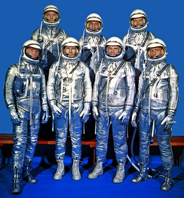 The original Project Mercury astronauts are shown. Top row, from left, are Alan B. Shepard Jr., Gus Grissom and Gordon Cooper. Bottom row, from left, are Wally Schirra, Deke Slayton, John Glenn and M. Scott Carpenter.