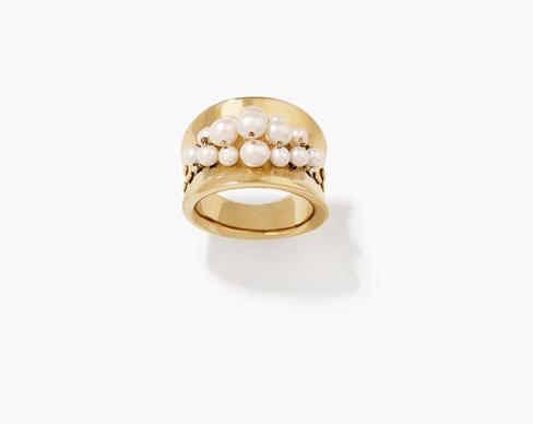 "Aurelie Bidermann solid 18-karat vermeil ""Cheyne Walk"" ring with two rows of freshwater pearls, $340."