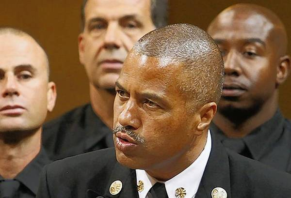 "Fire Chief Brian Cummings, center, addresses the City Council. ""I've not seen enough movement"" at the Fire Department, Mayor Garcetti told reporters Thursday."