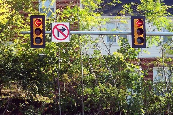 Relatively new to Pennsylvania, red-arrow signals control traffic from eastbound Route 22 to northbound MacArthur Road in Whitehall Township.