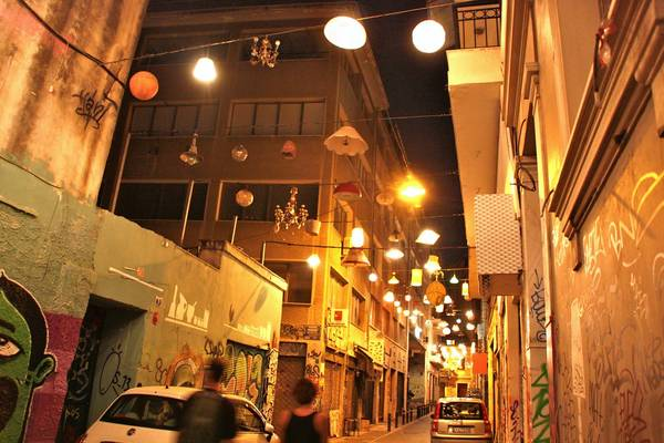 A light installation over Pittaki Street in Athens has enlivened a lane once known for its broken windows and population of junkies.