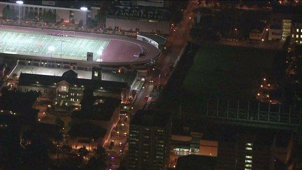 A suspect was arrested on the USC campus after leading police officers on a wild car chase.